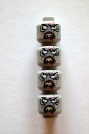 4 Custom Zombie Monster Heads for The Walking Dead Minifigures